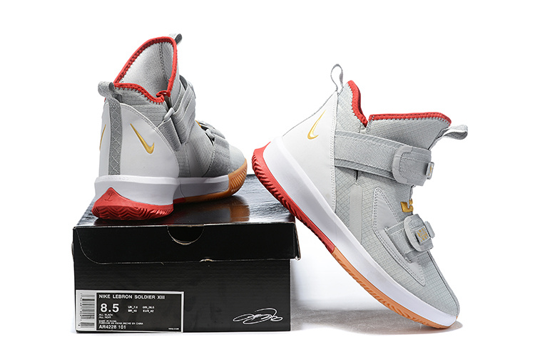 free shipping c3869 cec2c Nike LeBron Soldier 13 Wolf Grey Red Men's Basketball Shoes NIKE-ST006462