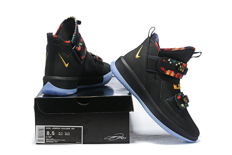 new products c42c7 b17b2 Nike LeBron Soldier 13 Black Multi-Color Men's Basketball Shoes  NIKE-ST006455