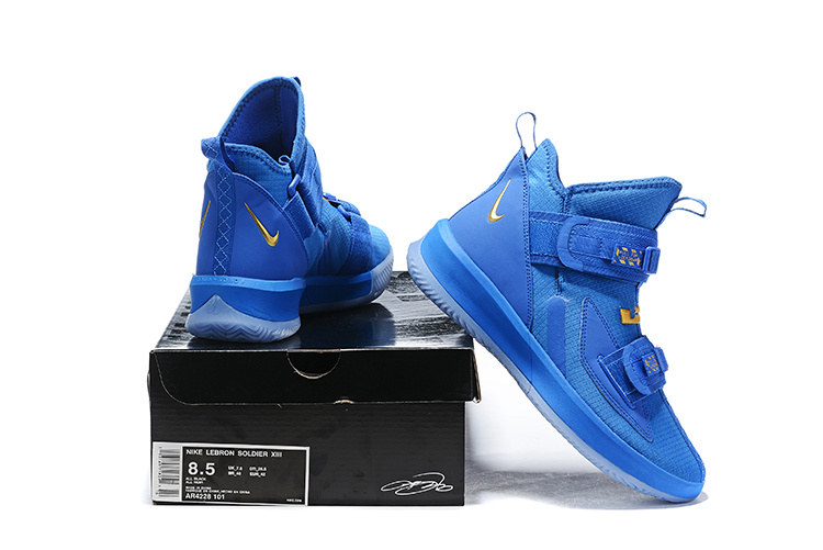 newest fd547 b299f Nike LeBron Soldier 13 Royal Blue Gold Men's Basketball Shoes NIKE-ST006463