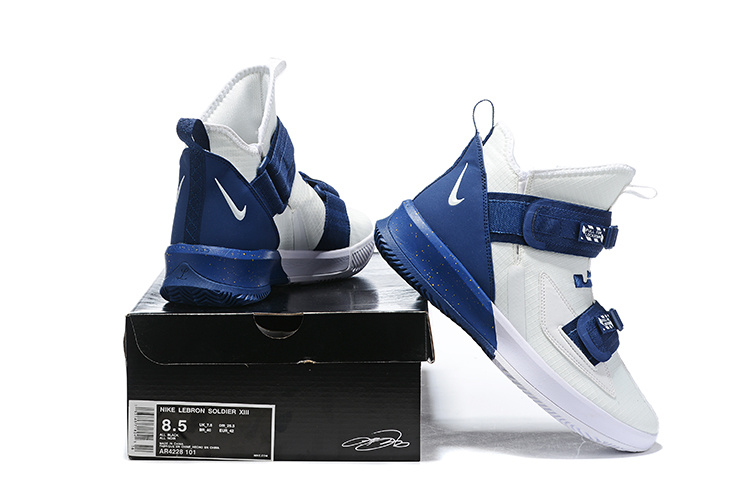 new styles 08d7a 72b9b Nike LeBron Soldier 13 White Navy Blue Men's Basketball Shoes NIKE-ST006464