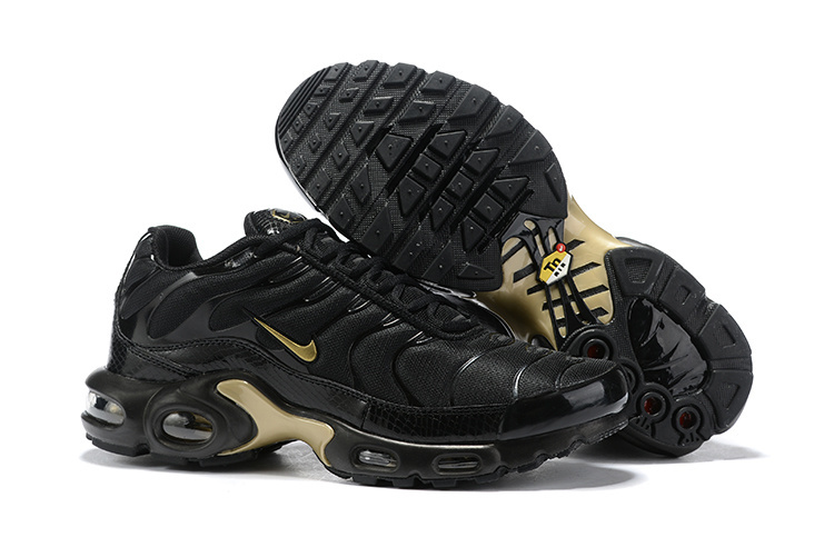 huge selection of a871e 12260 Mens Nike Air Max Plus TN Black Gold 852630 001 Males Running Shoes  852630-001