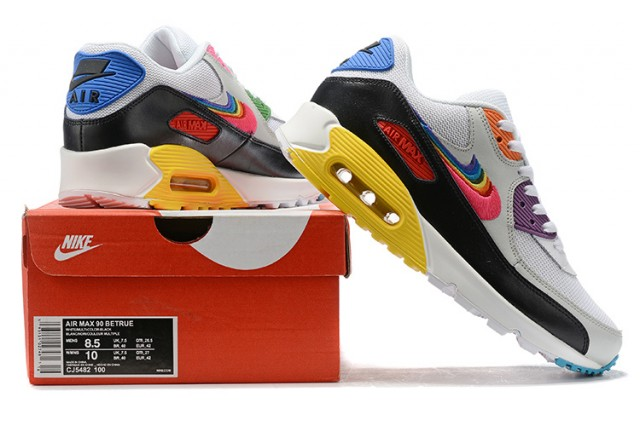 Nike Air Max 90 Be True WhiteMulti Color Black Wolf Grey CJ5482 100 Women's Men's Running Shoes Sneakers CJ5482 100