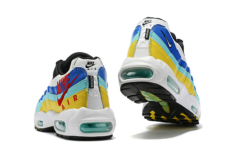 half off 54475 2282b Nike Air Max 95 White Black Blue Red Yellow Men's Casual Shoes NIKE-ST006804