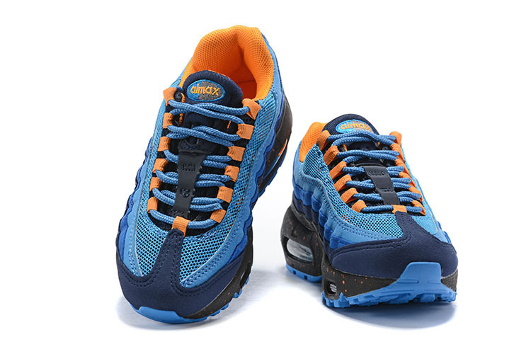 sports shoes eb206 68eaa Nike Air Max 95 Premium Blue Black Orange 538416 050 Kids Running Shoes  538416-050
