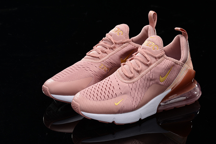 new styles 5056f d1105 Nike Air Max 270 Pink Gold White Womens Casual Shoes NIKE-ST006817