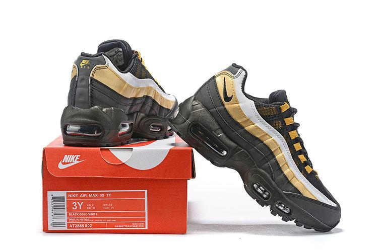 sale retailer 4966d 65e9a Nike Air Max 95 OG Black Metallic Gold White AT2865-002 Kids Running Shoes  AT2865-002