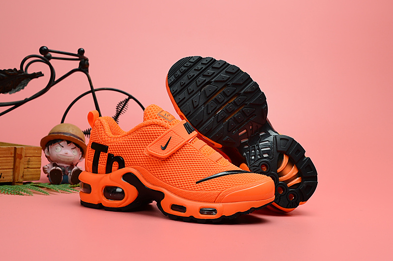 new styles 0973c b0172 Nike Air Max Plus Tn KPU Orange Black Kids Running Shoes NIKE-ST006708