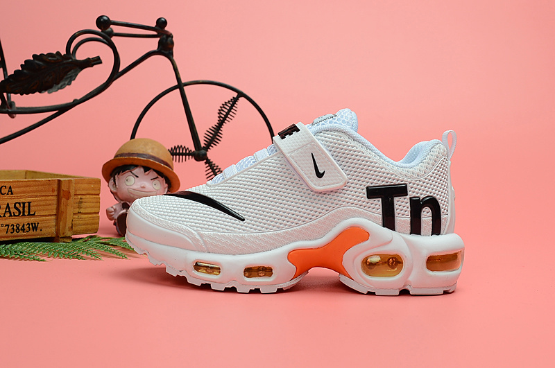 info for e0a26 ae587 Nike Air Max Plus Tn KPU White Orange Black Kids Running Shoes NIKE-ST006701