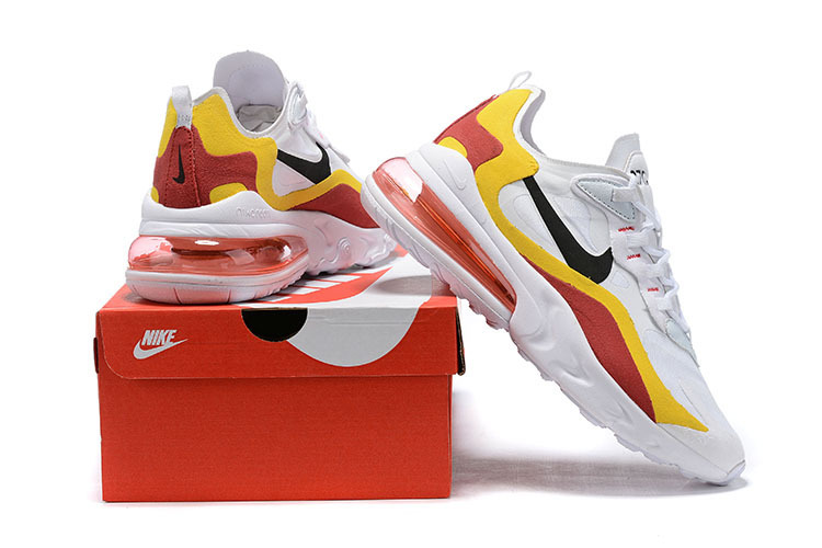 innovative design dfc85 c53d7 Nike Air Max 270 React White Red Yellow Black Men's Casual Shoes Sneakers  NIKE-ST006795