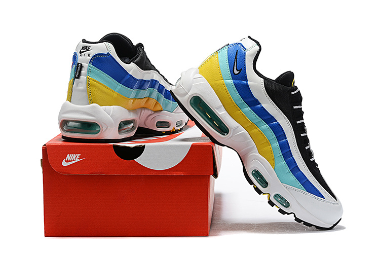 half off 88bf8 80bf4 Nike Air Max 95 White Black Blue Red Yellow Men's Casual Shoes NIKE-ST006804
