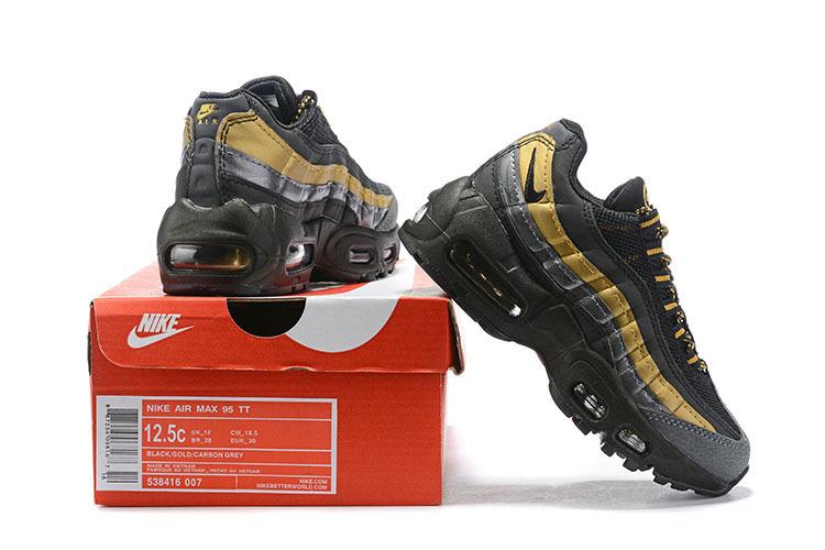 the best attitude 0e7c2 5996f Nike Air Max 95 Premium Metallic Gold Black 538416 007 Kids Running Shoes  538416-007