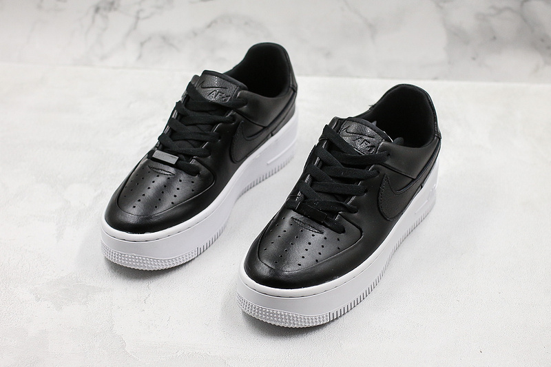buy online cd2dc b64d4 Women's Nike Air Force 1 Sage Low Lx Black White Shoes NIKE-ST007080