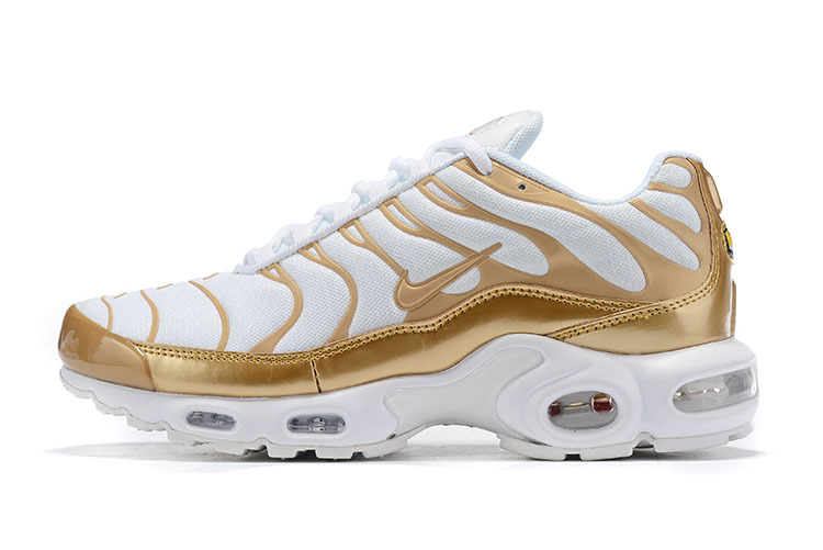 competitive price f1c18 2310b Nike Air Max Plus White Gold Running Shoes Men's NIKE-ST007203