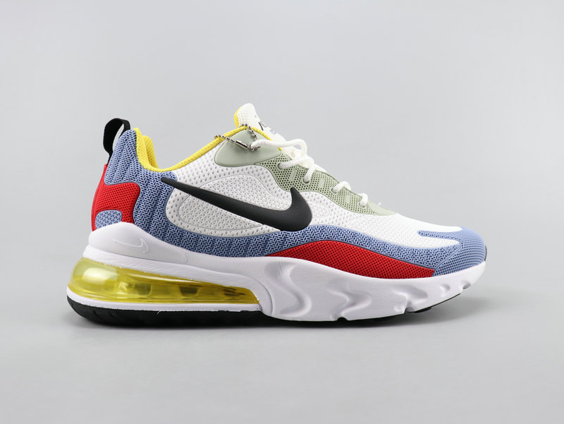 Nike Air Max 270 React White Red Blue Yellow Running Shoes Wmns Nike St007873