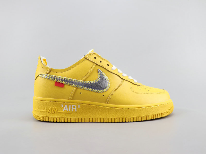 Off White x Nike Air Force 1'07 Virgil Yellow Gray White Running Shoes Wmns NIKE ST007869