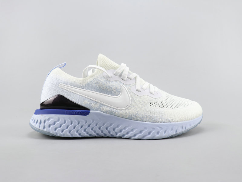 best authentic a3867 d93fd Nike Epic React Flyknit 2 White Blue Running Shoes Wmns NIKE-ST007838
