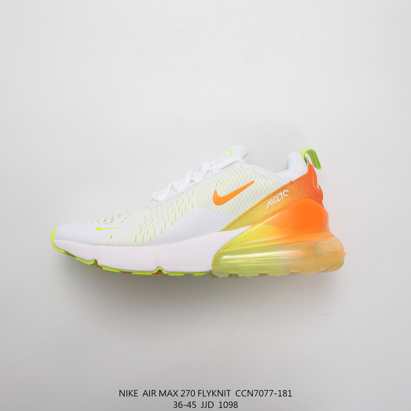 the best attitude 15d76 e840e Nike Max 270 White Yellow Orange Running Shoes Wmns NIKE-ST007818