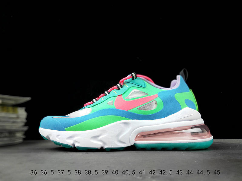 premium selection f7f27 1627a Nike React Air Max 270 White Green Blue Running Shoes Wmns NIKE-ST007649